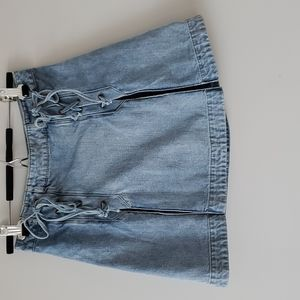 Free People Lace Up Denim Skirt Lightwash Sz 6
